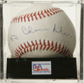 Autographs:Baseballs, Happy Chandler Single Signed Baseball, PSA NM-MT 8. Hall of Fameexec Happy Chandler has left a booming signature on the sw...