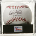 "Autographs:Baseballs, Bob Feller ""HOF 62"" Single Signed Baseball, PSA Gem Mint 10.Stellar sweet spot single from fierce hurler Rapid Robert Fell..."