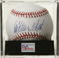 Autographs:Baseballs, Carlton Fisk Single Signed Baseball, PSA Mint 9. Pudge Fisk hasleft a large 9/10 signature on the sweet spot of the offere...