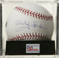 Autographs:Baseballs, Whitey Ford Single Signed Baseball, PSA Mint 9. Beautifullyrendered sweet spot sig from the mound artist for the Yankees W...