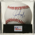 Autographs:Baseballs, Juan Gonzalez Single Signed Baseball, PSA Mint+ 9.5. Juan Gone, oneof the most feared home run hitters of the 1990s has le...