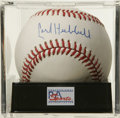 Autographs:Baseballs, Carl Hubbell Single Signed Baseball, PSA NM-MT+ 8.5. King Carlmakes available this fine HOF single. Ball has been encapsul...