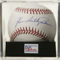 Autographs:Baseballs, Ferguson Arthur Jenkins Single Signed Baseball, PSA Gem Mint 10.Perfect rare full name single from the Canadian HOF hurler...