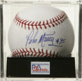 "Autographs:Baseballs, Pedro Martinez ""#45"" Single Signed Baseball, PSA Mint 9. Three-time Cy Young winner Pedro Martinez made it possible for us ..."