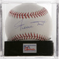 Autographs:Baseballs, Willie Mays Single Signed Baseball, PSA Mint+ 9.5. The Say Hey Kidgives us this pristine OML ball adorned with an impressi...