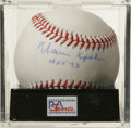 "Autographs:Baseballs, Warren Spahn ""HOF 73"" Single Signed Baseball, PSA NM-MT+ 8.5. Sweetspot sig we see here has been applied by long-time Brav..."