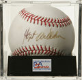 Autographs:Baseballs, Hoyt Wilhelm Single Signed Baseball, PSA NM-MT 8. Wilhelm, thepremier knuckleballer of his time, pitched his way into Coop...