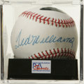 Autographs:Baseballs, Ted Williams Single Signed Baseball, PSA NM-MT+ 8.5. Booming sweetspot sig courtesy of legendary Ted Williams. Ball has b...