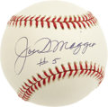 "Autographs:Baseballs, Joe DiMaggio ""#5"" Single Signed Baseball. Joltin' Joe has adornedthis OAL (Budig) baseball with an absolutely unimprovable ..."