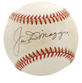Autographs:Baseballs, Joe DiMaggio Single Signed Baseball. Immaculate example of theSplendid Splinter's autograph appears of the sweet spot of t...