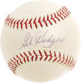 Autographs:Baseballs, Gil Hodges Signed Baseball. Worth better than two thousand dollarsin this condition as a genuine single, this high-grade O...