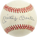 Autographs:Baseballs, Mickey Mantle Single Signed Baseball. Clean OAL (Brown) baseballwears a perfect in sweet spot signature that has been appl...