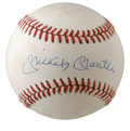 Autographs:Baseballs, Mickey Mantle Single Signed Baseball. Beautiful example of theMick's signature smack in the middle of this OAL (Brown) bas...