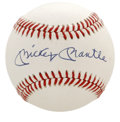 Autographs:Baseballs, Mickey Mantle Single Signed Baseball. Stunning example of a Mantle single presents with clean, white leather and an unimpro...