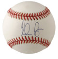 Autographs:Baseballs, Nolan Ryan Single Signed Baseball. Many believe that Nolan Ryan'scareer mark of 5,714 strikeouts is a record that may neve...
