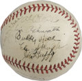 "Autographs:Baseballs, Circa 1940 Multi-Signed Baseball. Shellacked ""Official SpecialLeague"" baseball contains marvelous ink signatures from 18 b..."