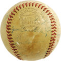 Autographs:Baseballs, Circa 1950s New York Giants Multi-Signed Baseball. Members of themid-1950s New York Giants squads have checked in on this ...