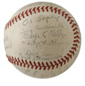 Autographs:Baseballs, 1940 Boston Bees Team Signed Baseball. Under the control of HOFmanager Casey Stengel, the National League team from Boston...