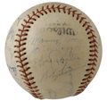 Autographs:Baseballs, 1949 Cleveland Indians Team Signed Baseball. The 1949 ClevelandIndians finished third in the NL despite having a lineup th...