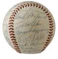 Autographs:Baseballs, 1953 Cleveland Indians Team Signed Baseball. Under the watchful eyeof HOF manager Al Lopez, the 1953 Cleveland Indians rac...