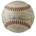 Autographs:Baseballs, 1953 Washington Senators Team-Signed Baseball. Strongrepresentation of a mid-century team signed baseball comes to usvia ...