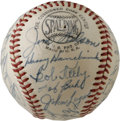 Autographs:Baseballs, 1953 Milwaukee Braves Team Signed Baseball. Thanks to a uniformlayer of lacquer, the twenty-five signatures on the ONL (Gi...