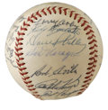 Autographs:Baseballs, 1955 Cleveland Indians Team Signed Baseball. Bouncing back fromtheir World Series sweep by the New York Giants the year be...