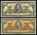 Canadian Currency: , BC-25c $20 1937 and BC-26c $50 1937.. ... (Total: 2 notes)