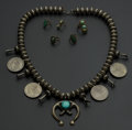Estate Jewelry:Other , Unusual Turquoise & Silver Dollar Squash Necklace & Five Rings. ... (Total: 5 Items)