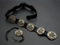 Estate Jewelry:Other , Silver Concho Leather Belt & Bolo Tie. ... (Total: 2 Items)