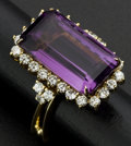 Estate Jewelry:Rings, Facetted Amethyst & Diamond 18k Gold Ring. ...