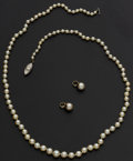 Estate Jewelry:Pearls, Strand Of Pearls & Two Pearl Enhancer's For Hoop Earrings. ... (Total: 3 Items)
