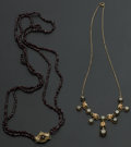 Estate Jewelry:Necklaces, Vintage Gold Filled Necklace & Sterling Garnet Bead Necklace. ... (Total: 2 Items)