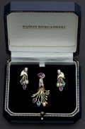 Estate Jewelry:Suites, Sterling Multi-Color Stone Pendant & Earrings. ... (Total: 2 Items)