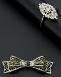Estate Jewelry:Other , Early 14k Gold Filigree Diamond Ring & Pin. ... (Total: 2Items)