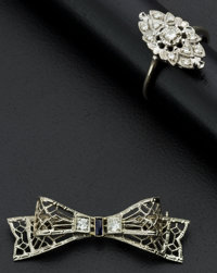 Early 14k Gold Filigree Diamond Ring & Pin
