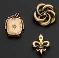 Estate Jewelry:Other , Two Gold & Diamond Pins & One Gold Filled Locket. ... (Total: 3 Items)