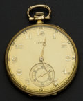 Timepieces:Pocket (post 1900), Zenith 14k Gold Pocket Watch. ...