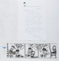 Autographs:Artists, Bud Blake (1918-2005, American Cartoonist). Autograph LetterSigned. Original Art and Envelope Included. Very good. Creator ...