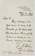 Autographs:Artists, Frank Dicksee (1853-1928, British Artist). Autograph Letter Signed.Very good....