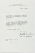 Autographs:Military Figures, John S. D. Eisenhower (1922- , US Brigadier General and Son of President Dwight D. Eisenhower). Typed Letter Signed. Nea...
