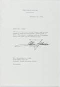 Autographs:Artists, Oliver F. [Ollie] Atkins (1917-1977, American Photographer). TypedLetter Signed. Fine....