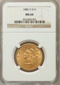 Liberty Eagles: , 1886-S $10 MS64 NGC NGC Census: (18/0). PCGS Population (12/0).Mintage: 826,000. Numismedia Wsl. Price for problem free NG...