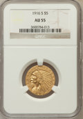 Indian Half Eagles: , 1916-S $5 AU55 NGC NGC Census: (178/1481). PCGS Population(168/973). Mintage: 240,000. Numismedia Wsl. Price for problem f...