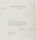 Autographs:Authors, Charles B. Driscoll (1885-1951, American Journalist). Typed LetterSigned. Very good....