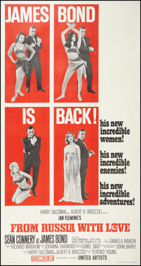 "From Russia with Love (United Artists, 1964). Three Sheet (41"" X 81""). James Bond"