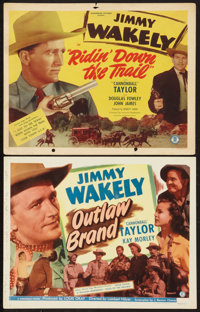 "Outlaw Brand & Other Lot (Monogram, 1948). Title Lobby Cards (2) (11"" X 14""). Western. ... (Total: 2 I..."