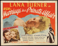 """Marriage is a Private Affair (MGM, 1944). Half Sheets (2) (22"""" X 28"""") Styles A & B. Comedy. ... (Total..."""