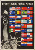 "Movie Posters:War, World War II Propaganda (U.S. Government Printing Office, 1942).Poster (22"" X 28""). OWI Poster 19. ""The United Nations Figh..."