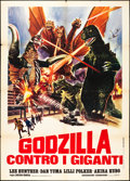"Movie Posters:Science Fiction, Godzilla vs. Gigan (Toho, 1972). Italian 2 - Foglio (39"" X 55""). Science Fiction.. ..."